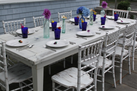 Tuscan Whitewash Farm Table, Distressed Chiavari Chair, Simply Spiral China & Swirl Flatware