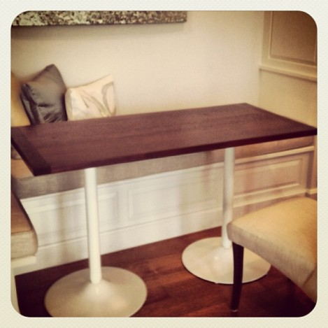 Custom Wood Table with White Modern Legs NECR