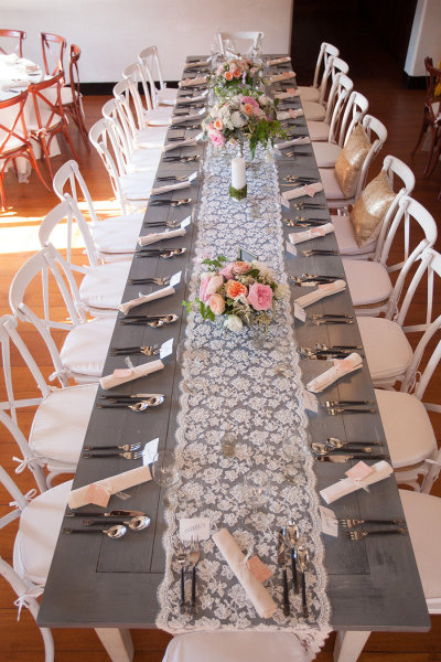 NECR Bluewash Farm Table and White Crossback Chairs