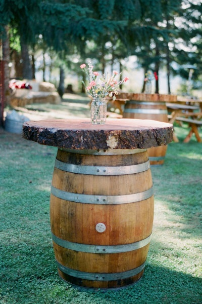 wine barrel as table