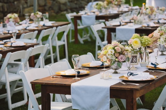 rustic table, farm table, necr, new england country rentals, wedding rentals, party rentals, event rentals, white table runner, white cotton napkins,