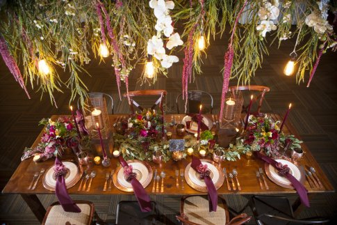 New Marsala Color Trend Table Scape for Wedding or Corporate Event