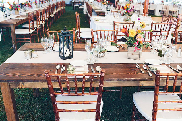 NECR, farm, table, chiavari, chairs, oak, stain, floral, summer, rustic, event, rentals, linens, silverware, glassware